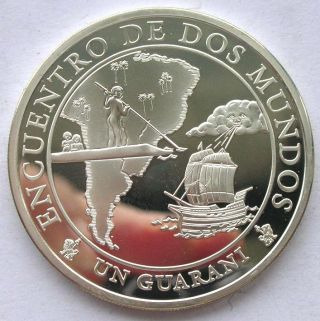 Paraguay 2002 Navigation Map Guaranie Silver Coin,  Proof photo