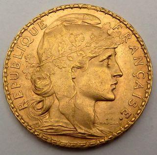 France 20 Gold Francs 1911 6.  45 Gr.  0.  1867 Oz.  0.  900 Gold