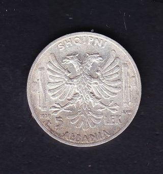 1939 Albania.  Italy 5 Leke Silver Coin 5 Gr Rare.   N 94 photo