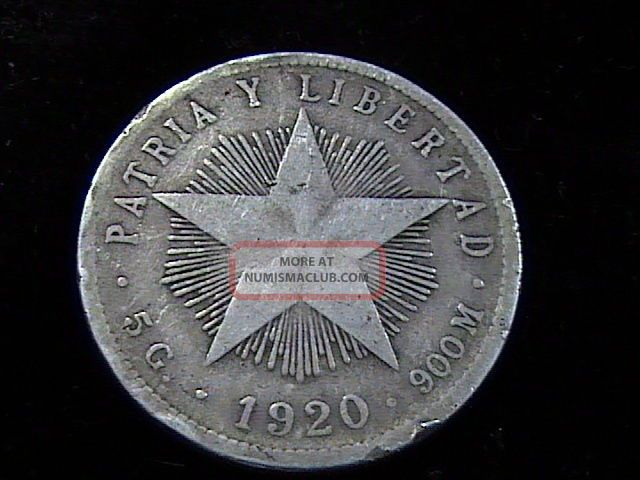 1920 Silver Veinte Centavos Libertad Progreso In F,  /vf,  A Neat Coin Coins: World photo