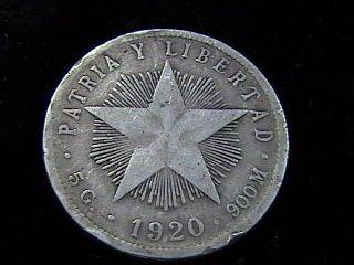 1920 Silver Veinte Centavos Libertad Progreso In F,  /vf,  A Neat Coin photo