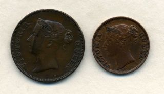 1845 East India Company One Centand 1845 Half Cent. photo