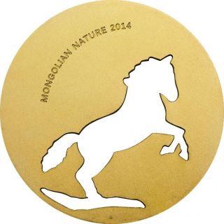 Mongolia 500 Togrog Mongolian Nature - Horse Gold Gilded 1/2 Oz Silver Coin photo
