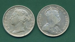 1889 And 1910 Straits Settlements 20 Cents. photo