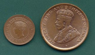 1898 Ceylon Quarter Cent And 1925 One Cent. photo