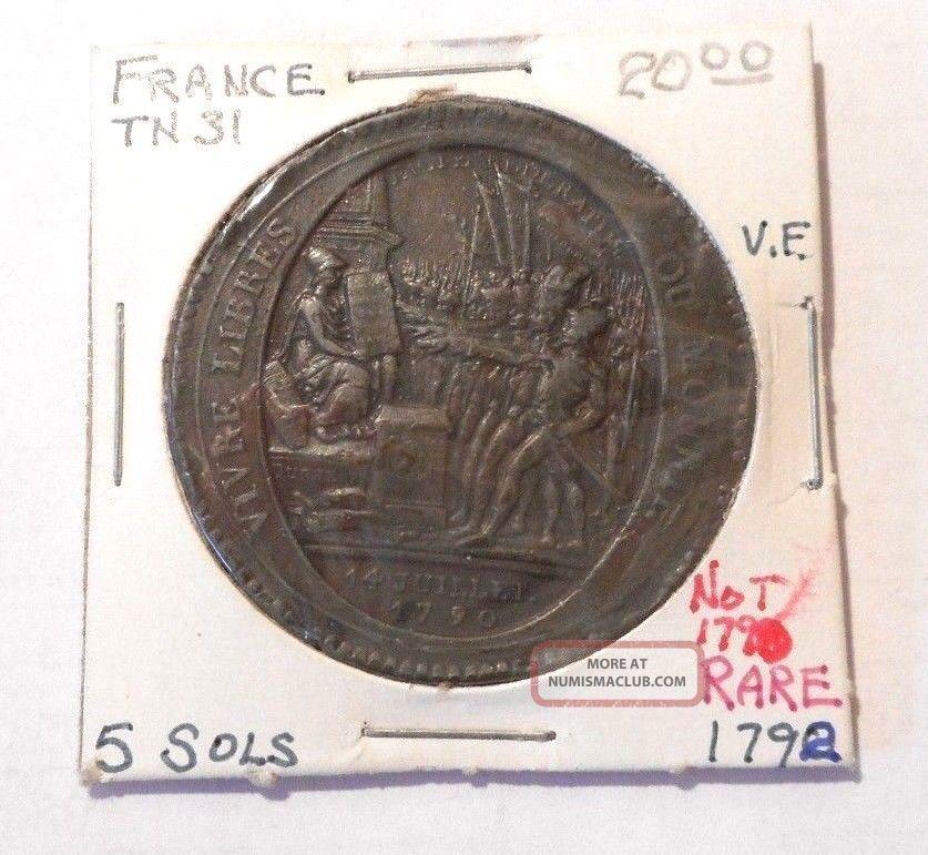 French Token Tn31 5 Sols Vf 1792 Not 1790 Rare Europe photo