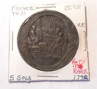 French Token Tn31 5 Sols Vf 1792 Not 1790 Rare photo