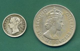 1894 British Honduras 5 Cents And 1976 Belize 50 Cents. photo
