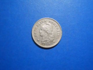 Argentina 10 Centavos,  1918 - Circulated Copper Nickel photo