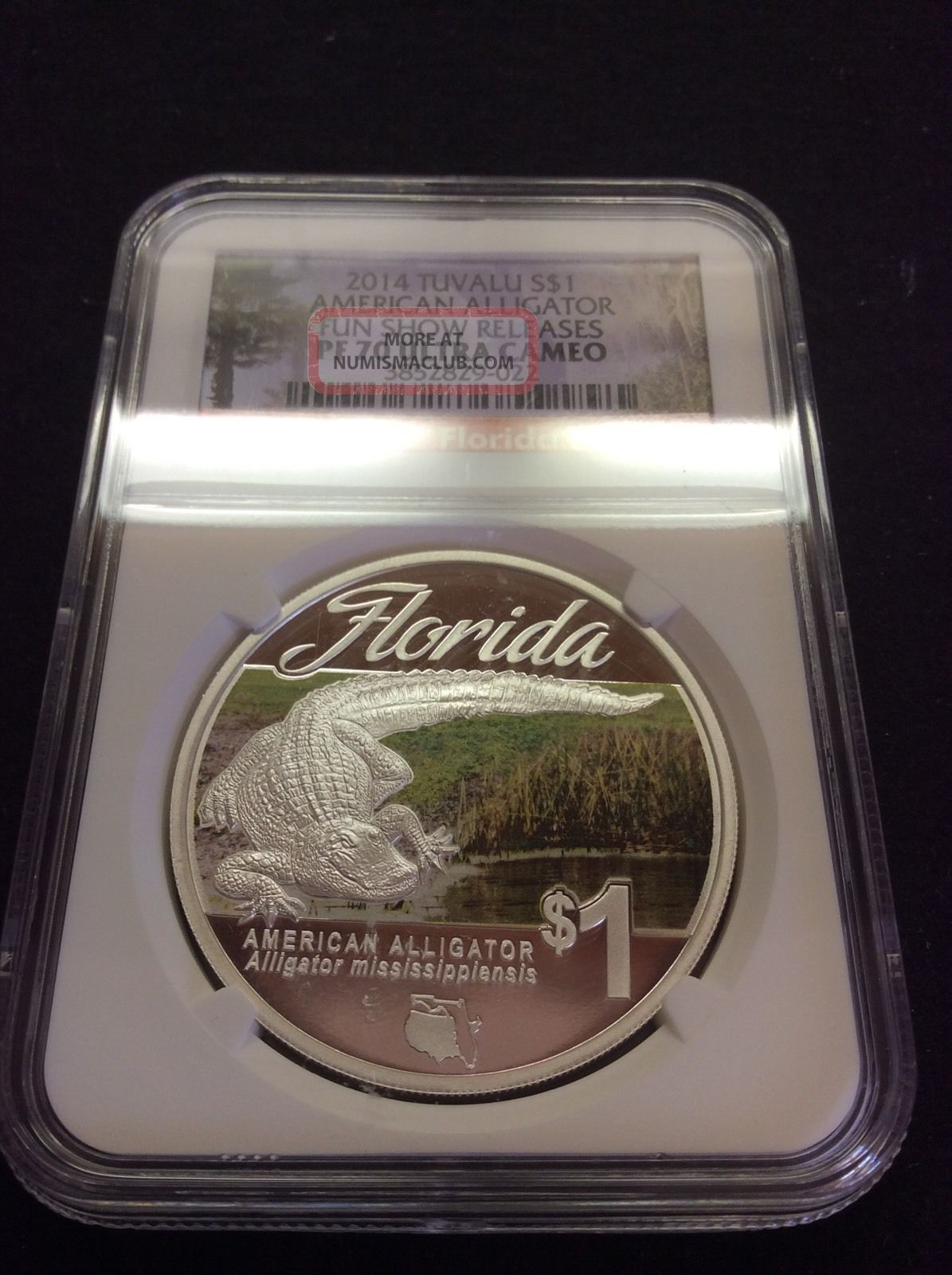 2014 Tuvalu Silver Dollar Proof 1 American Alligator