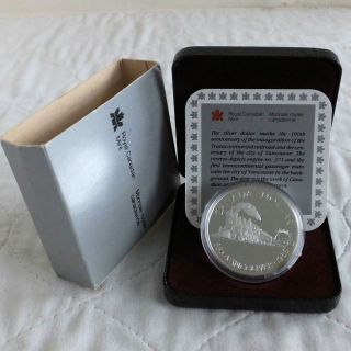 Canada 1986 Vancouver / Transcontinental Railway Silver Proof Dollar - Boxed/coa photo