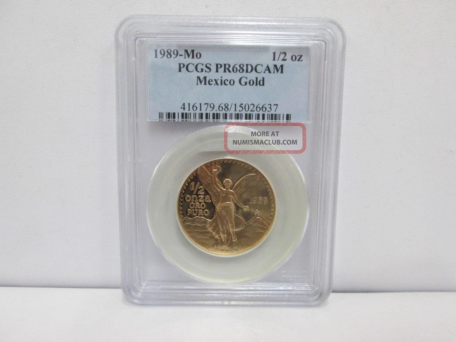 1989 - Mo Mexican 1/2 Onza Gold Proof - Pcgs Pr68dcam Coins: World photo