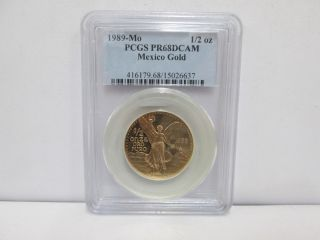 1989 - Mo Mexican 1/2 Onza Gold Proof - Pcgs Pr68dcam photo