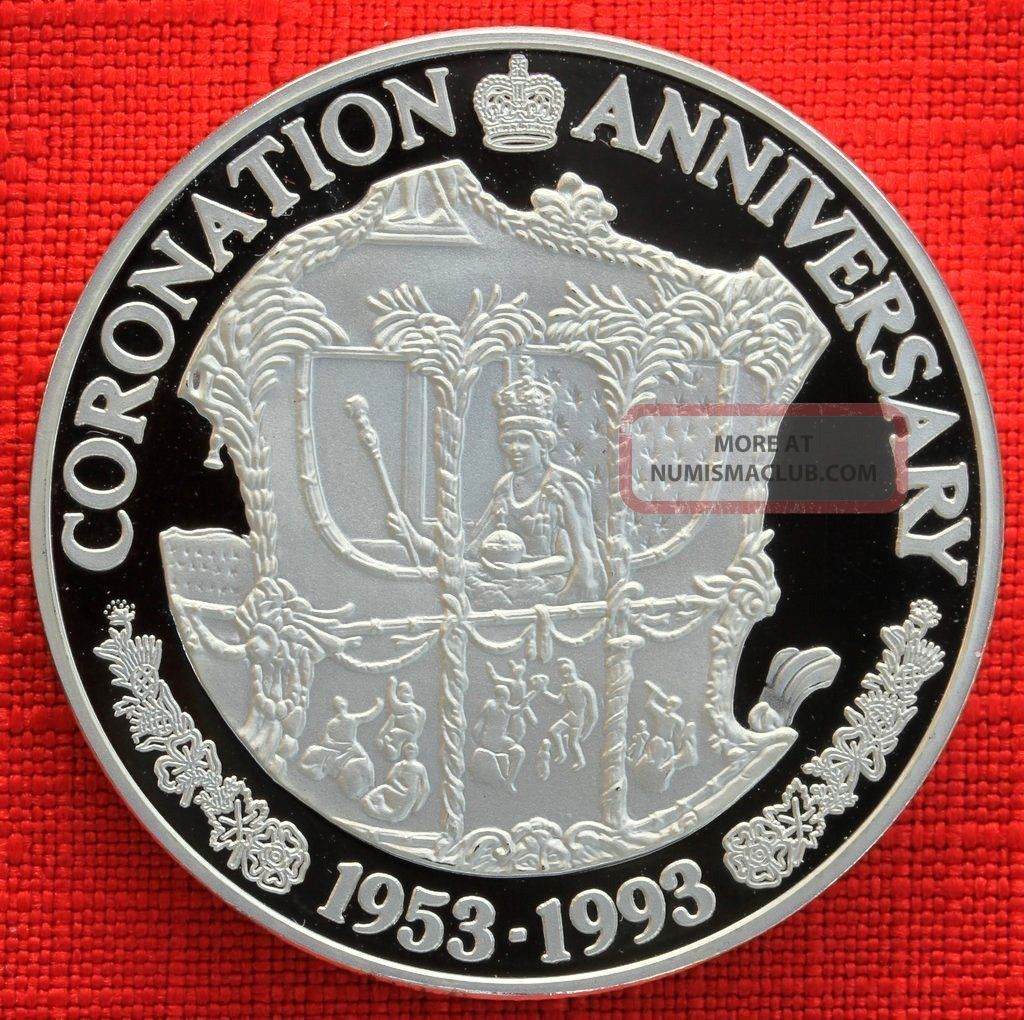 Turks & Caicos G 1993 20 Crowns Coronation 40th,  1 Tr Oz Silver Proof,  Top Grade South America photo