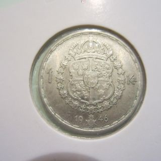 Sweden Krona Silver Coin 1946. photo