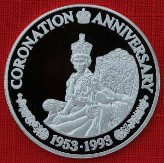Turks & Caicos F 1993 20 Crowns Coronation 40th,  1 Tr Oz Silver Proof,  Top Grade photo
