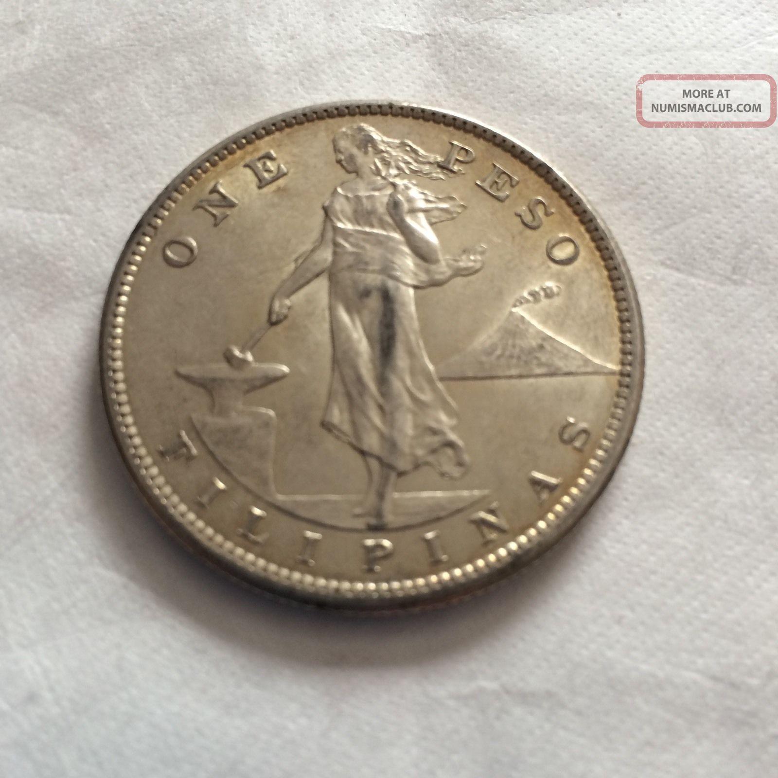 1907 S Philippine Peso Silver Coin