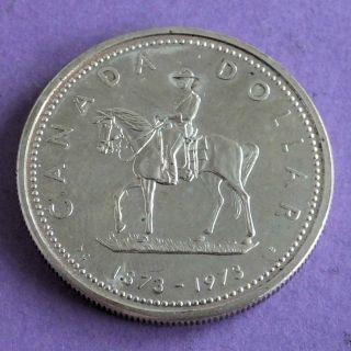Canada 1973 Mountie On Horseback Prooflike Silver Dollar photo