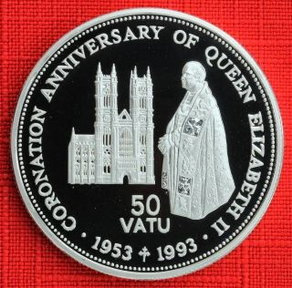 Vanuatu: 1993 50 Vatu,  Coronation 40th, .  925 Silver Proof,  Capsule - Top Grade photo
