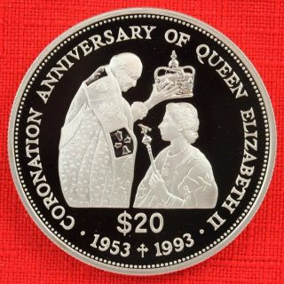 Tuvalu: 1993 20 Dollars,  Coronation 40th, .  925 Silver Proof,  Capsule - Top Grade photo