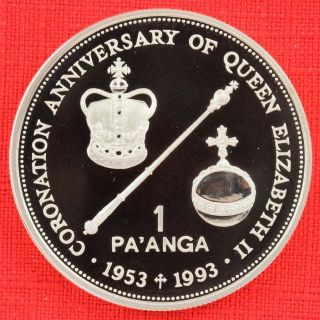 Tonga: 1993 1 Pa ' Anga,  Coronation 40th, .  925 Silver Proof,  Capsule - Top Grade photo