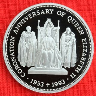 St Helena & Ascension: 1993 £2 Coronation 40th.  925 Silver Proof,  Cap,  Top Grade photo