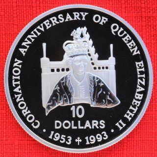 Solomon Is.  : 1992 $10,  Coronation 40th, .  925 Silver Proof,  Capsule - Top Grade photo