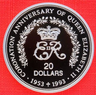 Niue: 1993 $20,  Queen ' S Coronation 40th, .  925 Silver Proof,  Capsule - Top Grade photo