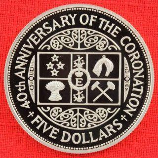 Zealand: 1993 $5,  Qeii Coronation 40th, .  925 Silver Proof,  Cap.  - Top Grade photo