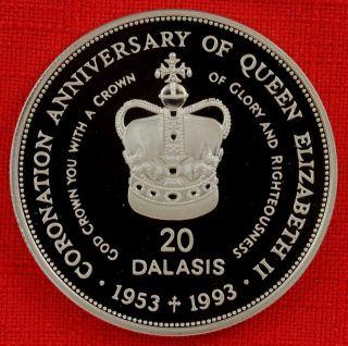 Gambia: 1993 20 Dalasis,  Coronation 40th, .  925 Silver Proof,  Capsule - Top Grade photo