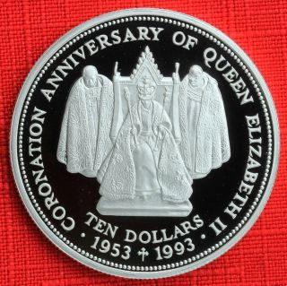 Fiji: 1993 $10,  Queen ' S Coronation 40th, .  925 Silver Proof,  Capsule - Top Grade photo