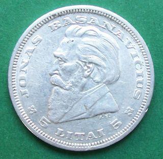 Lithuania 5 Litai 1936 Basanavicius Silver Coin photo