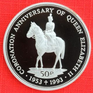 Falkland Is: 1993 50 Pence,  Coronation 40th, .  925 Silver Proof,  Cap - Top Grade photo