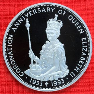 East Caribbean: 1993 $10 Coronation 40th.  925 Silver Proof,  Capsule - Top Grade photo