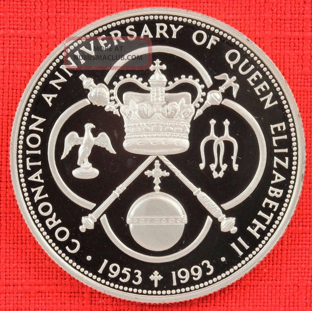 Cayman Islands: 1993 $5,  Coronation 40th, .  925 Silver Proof,  Capsule - Top Grade South America photo