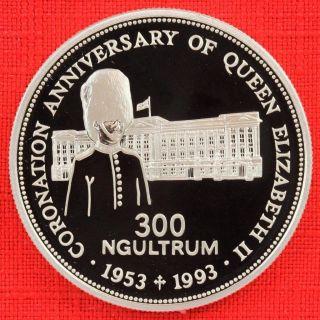 Bhutan: 1993 300 Ngultrum,  Coronation 40th, .  925 Silver Proof,  Cap.  - Top Grade photo