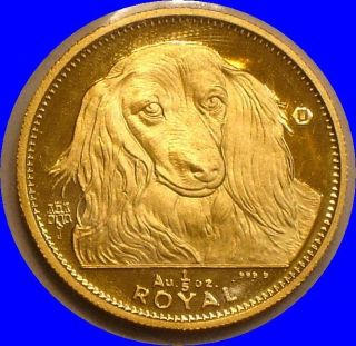 1993 Gold 1/5 Royal Of Gibraltar Long Haired Dachshund.  200 Oz.  999 Fine photo