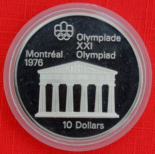 Canada: 1974 $10 Olympics Temple Of Zeus.  925 Silver Proof,  Capsule - Top Grade photo