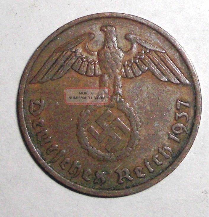 1937 - A Germany,  Wwii Third Reich,  2 Reichspfennig,  Eagle With Swastika Coin Coins: World photo
