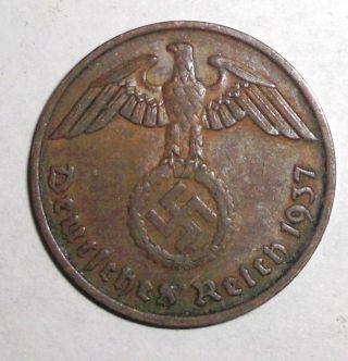1937 - A Germany,  Wwii Third Reich,  2 Reichspfennig,  Eagle With Swastika Coin photo