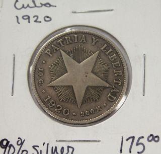 1920 Cuarenta Centavos Patria Y Libertad - 90 Silver photo