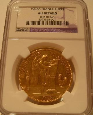 France 1902 A Gold 100 Francs Ngc Au Details Angel photo