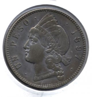 1897 A Dominicana Republica Un Peso 25 Gramos Km 16 Photo