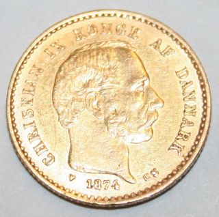 1874 Denmark 10 Kroner.  900 Gold Coin photo