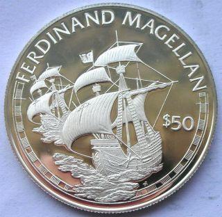Cook 1988 Ferdinand Magellan ' S Ship 50 Dollars Silver Coin,  Proof photo
