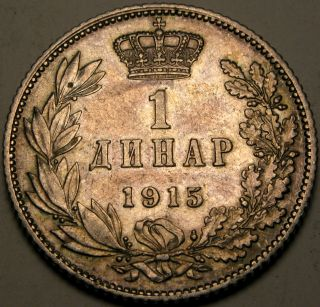 Serbia 1 Dinar 1915 (a) - Silver - Petar I.  Karađorđević - Vf/xf - 2664 photo