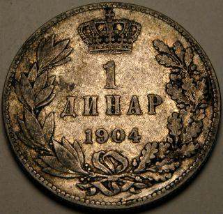 Serbia 1 Dinar 1904 - Silver - Petar I.  Karađorđević - Vf - 2662 photo