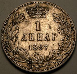 Serbia 1 Dinar 1897 - Silver - Aleksandar I.  Obrenović - Vf/xf - 2661 photo