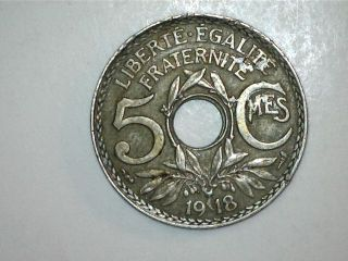 1918 France 5 Cmes Coin (0750) photo