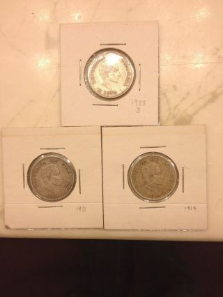 Extremely Rare Mintage 1911 - 1914 - 1933 Columbia 20 Silver Centavos. , photo